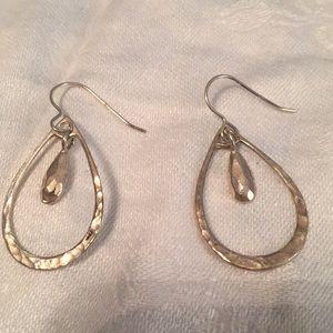 Silver Tear Shaped Wire Earrings